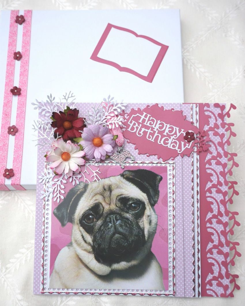 HAND MADE PUG HAPPY BIRTHDAY KEEPSAKE CARD BOXED WITH PUG AND FLOWERS & CHARM